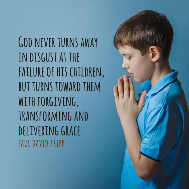 God never turns away in disgust at the failure of his children...