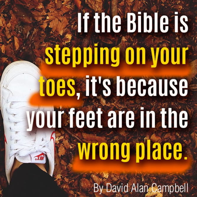 Bible on toes